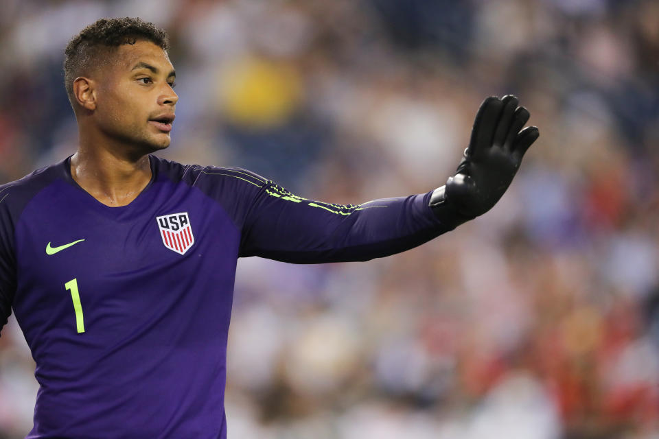 NASHVILLE, TN - JULY 03: Zack Steffen of USA during the 2019 CONCACAF Gold Cup Semi Final between Jamaica and United States of America at Nissan Stadium on July 3, 2019 in Nashville, Tennessee. (Photo by Matthew Ashton - AMA/Getty Images)