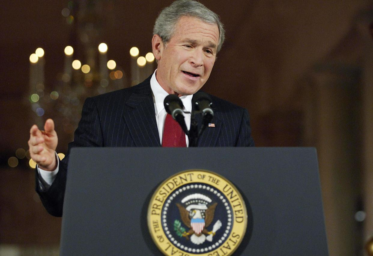 """<strong>""""We look forward to hearing your vision, so we can more better do our job."""" </strong> --Sept. 20, 2005, in Gulfport, Miss. <a href=""""http://www.huffingtonpost.com/2009/01/03/bushisms-over-the-years_n_154969.html"""" rel=""""nofollow noopener"""" target=""""_blank"""" data-ylk=""""slk:Source: The Associated Press"""" class=""""link rapid-noclick-resp"""">Source: The Associated Press</a> (MANDEL NGAN/AFP/Getty Images)"""
