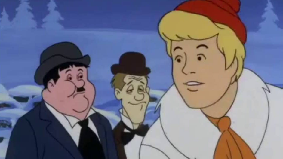 Laurel and Hardy in 'The New Scooby-Doo Movies'. (Credit: CBS)