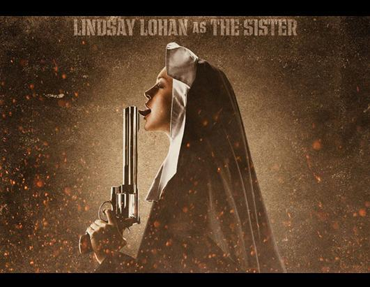 """Lindsay Lohan posed in a nun's habit with a gun to her mouth for the movie """"Machete"""" in which Lohan played an avenging nun called """"the Sister."""" The actress was removed from the film's promo posters after she was sentenced to 90 days in jail in 2010 for violating the terms of her probation. Jessica Alba, Robert De Niro, Michelle Rodriguez and Steven Seagal also starred in """"Machete."""""""