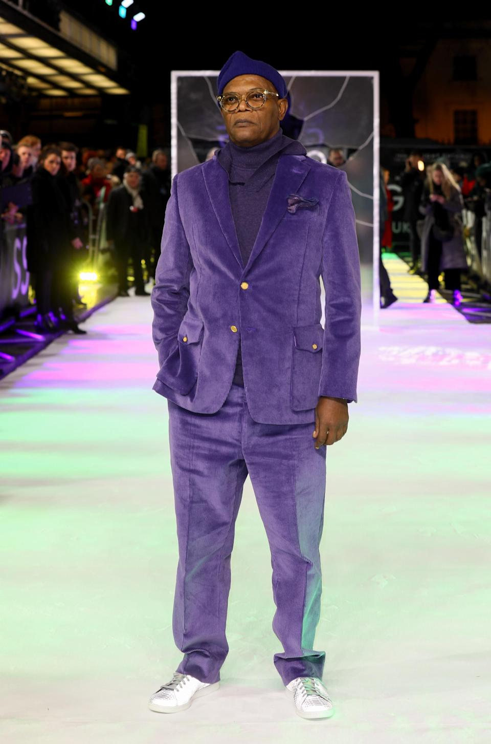 Is purple the new millennial pink? Samuel L. Jackson opted for a corduroy co-ord on the red carpet last night [Photo: Getty]