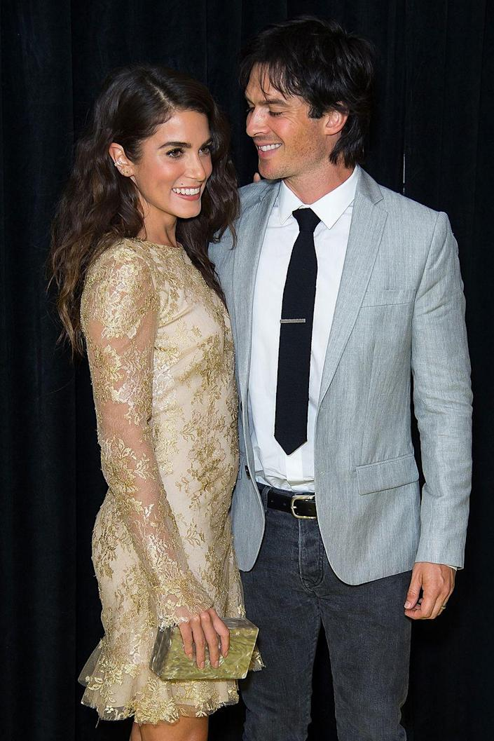 """<p>After six months of dating, the actors got engaged in January 2015, per <em><a class=""""link rapid-noclick-resp"""" href=""""https://www.usmagazine.com/celebrity-news/news/nikki-reed-ian-somerhalder-engaged-after-six-months-of-dating-2015151/"""" rel=""""nofollow noopener"""" target=""""_blank"""" data-ylk=""""slk:US Weekly"""">US Weekly</a></em>. They tied the knot that April in Malibu, California. They have a little girl together, Bodhi Soleil, and are still happily married.</p>"""