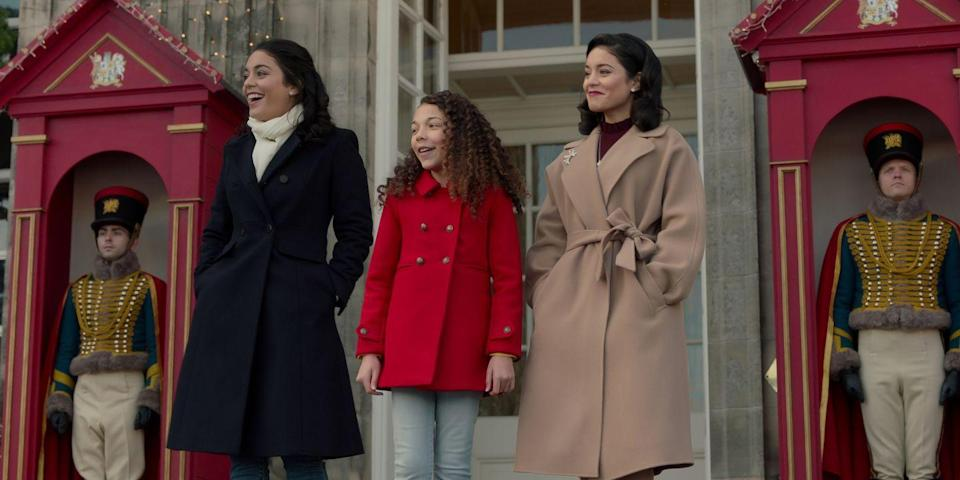 """<p>The sequel to the 2018 Vanessa Hudgens <em>Parent Trap</em>-esque take on Christmas sees Duchess Margaret inherit the throne of Montenaro (fake town, somehow sounds real), and her lookalike, Stacy, has to step in to save the day before yet another lookalike, Fiona, ruins everything. Wait, so are we supposed to believe there are <em>three</em> people out there who look just like Vanessa Hudgens? I still want this movie to be about a <a href=""""https://www.cosmopolitan.com/sex-love/a28485395/pillow-princess-meaning/"""" rel=""""nofollow noopener"""" target=""""_blank"""" data-ylk=""""slk:pillow princess"""" class=""""link rapid-noclick-resp"""">pillow princess</a> queer woman who learns to become a <a href=""""https://www.refinery29.com/en-us/what-is-a-switch-sexually"""" rel=""""nofollow noopener"""" target=""""_blank"""" data-ylk=""""slk:switch"""" class=""""link rapid-noclick-resp"""">switch</a>. *Shrug*.</p>"""