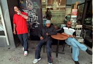 <p>Cypress Hill outside the Galaxy Gallery in Los Angeles in 1990.</p>