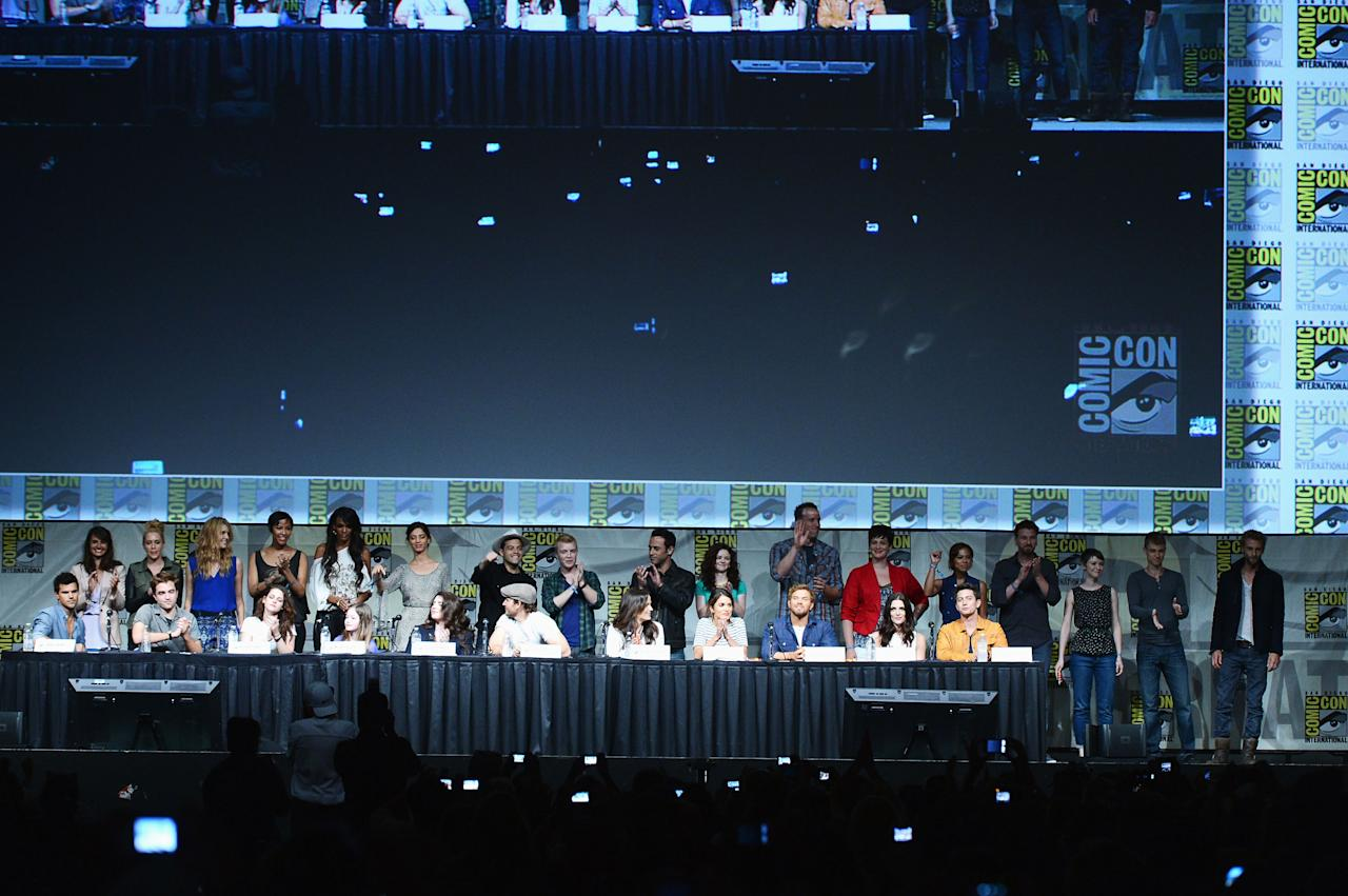 """SAN DIEGO, CA - JULY 12:  Cast of """"The Twilight Saga: Breaking Dawn Part 2"""" Panel during Comic-Con International 2012 at San Diego Convention Center on July 12, 2012 in San Diego, California.  (Photo by Kevin Winter/Getty Images)"""