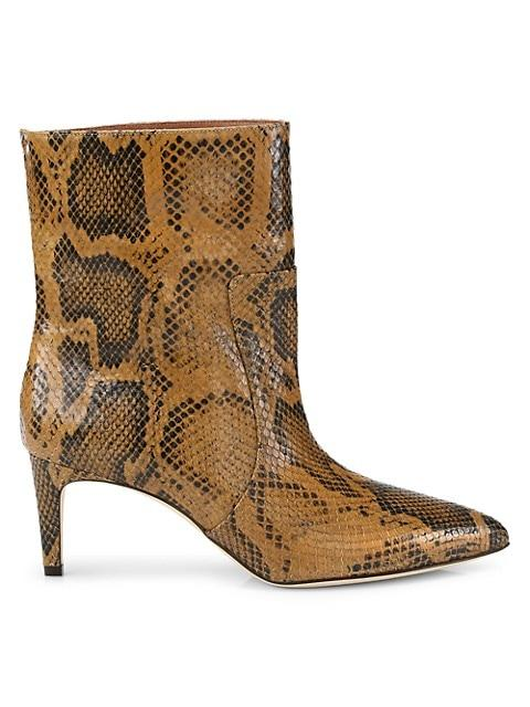 Python-Embossed Leather Ankle Boots