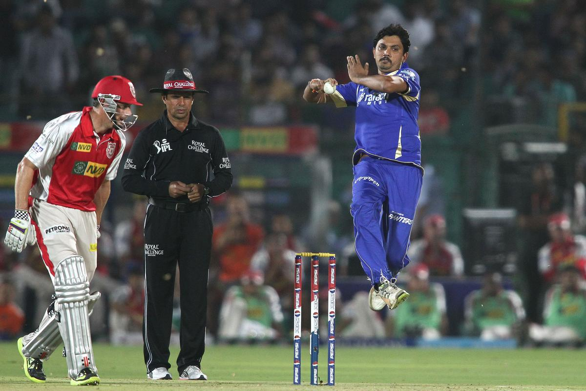 Siddharth Trivedi of Rajasthan Royals sends down a delivery during match 18 of the Pepsi Indian Premier League (IPL) 2013 between The Rajasthan Royals and the Kings Xi Punjab held at the Sawai Mansingh Stadium in Jaipur on the 14th April 2013..Photo by Shaun Roy-IPL-SPORTZPICS  ..Use of this image is subject to the terms and conditions as outlined by the BCCI. These terms can be found by following this link:..https://ec.yimg.com/ec?url=http%3a%2f%2fwww.sportzpics.co.za%2fimage%2fI0000SoRagM2cIEc&t=1506288730&sig=nZEwB6atxk0XnCr9xpKhrg--~D