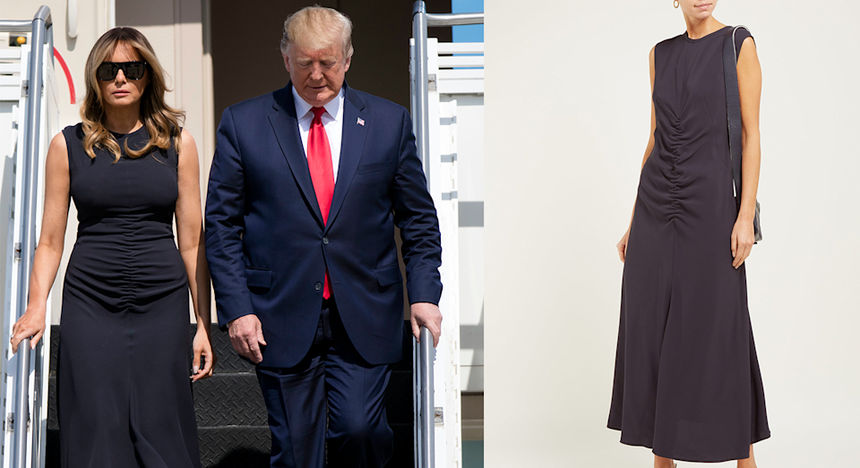 Melania Trump wore a ruched Sportmax dress on Wednesday [Photo: Getty Images/ Matches Fashion]