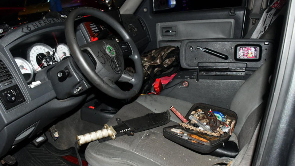 The inside of the suspect's truck. (Capitol Police via Twitter)
