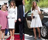 <p>In Israel, the first lady kept things cool while wearing a white skirt suit, a style favored by the Duchess of Cambridge. In fact, the royal wore a similar ensemble while traveling in Singapore in 2012. (Photos: Getty Images) </p>