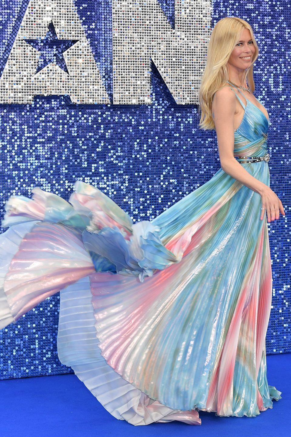<p>At the London premiere of Rocketman wearing an iridescent, pleated floor-length gown by couture designer Zuhair Murad. I paired it with a stunning, Jimmy Choo gold clutch encrusted with pave diamond stars, gold chevron sandals by Nicholas Kirkwood and a triangle diamond necklace and enamel ring by fine jewellery designer Solange Azagury-Partridge .</p>