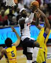 NBA Superstar LeBron James has a following in Brazil -- here, he is seen playing an exhibition for Team USA against Brazil in Washington in 2012 (AFP/Patrick Smith)