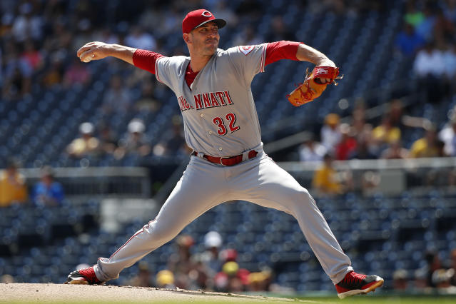 Cincinnati Reds starting pitcher Matt Harvey delivers in the first inning of a baseball game against the Pittsburgh Pirates in Pittsburgh, Monday, Sept. 3, 2018. (AP Photo/Gene J. Puskar)