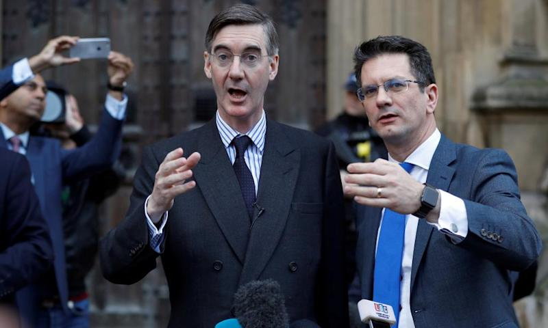 Jacob Rees-Mogg and Steve Baker speaking to the press in London