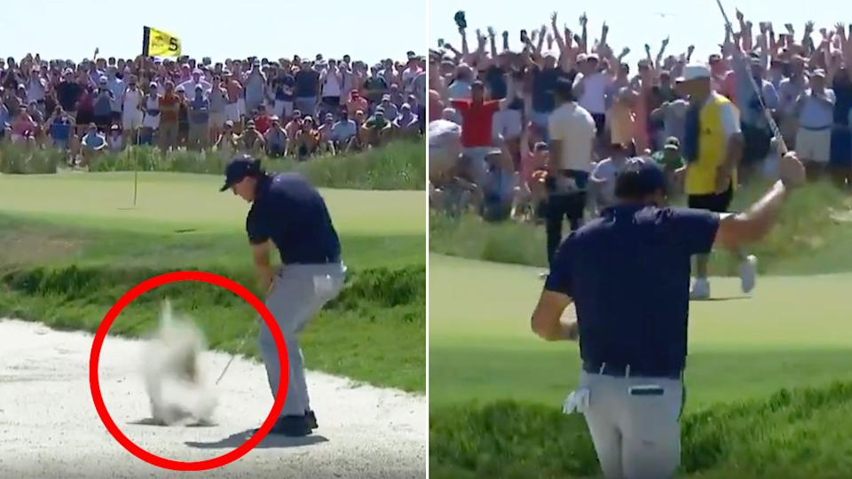 Pictured here, Phil Mickelson's incredible birdie from the bunker at five.