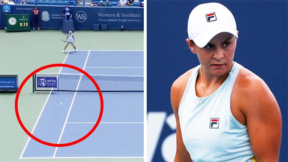 Ash Barty (pictured right) looking at her opponent and (pictured left) hitting a forehand winner.