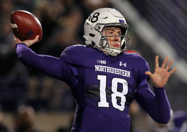 FILE- In this Saturday, Nov. 3, 2018, file photo, Northwestern's Clayton Thorson makes a pass against Notre Dame during the first half of an NCAA college football game in Evanston, Ill. Northwestern faces Iowa on Saturday. (AP Photo/Jim Young, File)