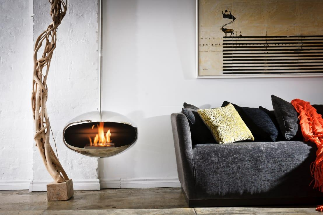 <p>Being inspired by an outdoor design can result in some pretty amazing features. Just feast your eyes on this futuristic little design! In essence, it's a simple woodburner-style fireplace that seems very easy for experienced DIYers to fit themselves. All that's needed afterwards will be a professional to come along and sign off on the work, declaring it safe to use.</p><p>A suspended fireplace is nothing new, appealing to small spaces, as it effectively frees up legroom.</p>  Credits: homify / Wharfside Furniture