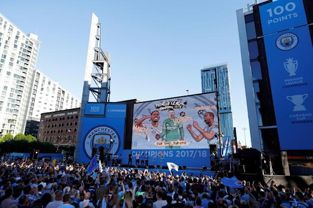 Soccer Football - Premier League - Manchester City Premier League Title Winners Parade - Manchester, Britain - May 14, 2018 General view during the parade Action Images via Reuters/Andrew Boyers