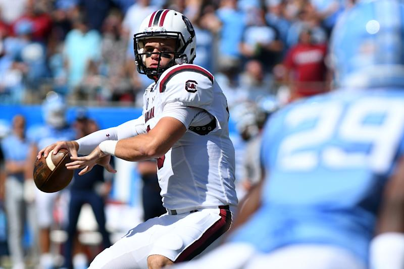 CHARLOTTE, NC - AUGUST 31: South Carolina Gamecocks quarterback Jake Bentley (19) draws back to pass in the first quarter during the Belk College Kickoff game between the South Carolina Gamecocks and the North Carolina Tar Heels on August 31, 2019 at Bank of America Stadium in Charlotte,NC. (Photo by Dannie Walls/Icon Sportswire via Getty Images)
