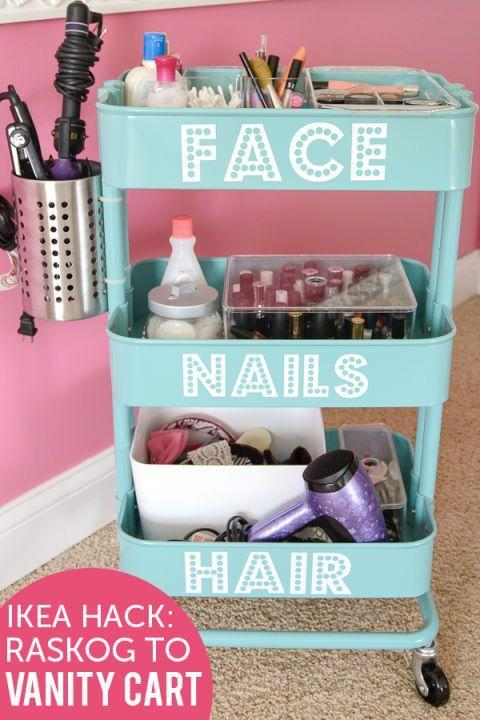 """<p>This clever blogger used the cart to categorize her beauty routine — and even doctored the side with a bin for her hot tools.</p><p>See more at <a href=""""http://www.polkadotchair.com/2014/10/ikea-raskog-hack-diy-rolling-vanity.html/"""" rel=""""nofollow noopener"""" target=""""_blank"""" data-ylk=""""slk:Polka Dot Chair"""" class=""""link rapid-noclick-resp"""">Polka Dot Chair</a>.</p><p><em><a class=""""link rapid-noclick-resp"""" href=""""https://www.amazon.com/Rust-Oleum-249090-Painters-Purpose-12-Ounce/dp/B002BWOS08/?tag=syn-yahoo-20&ascsubtag=%5Bartid%7C2089.g.29514474%5Bsrc%7Cyahoo-us"""" rel=""""nofollow noopener"""" target=""""_blank"""" data-ylk=""""slk:BUY NOW"""">BUY NOW</a><strong>White Paint, $9, <span class=""""redactor-unlink"""">amazon.com</span></strong></em><br></p>"""