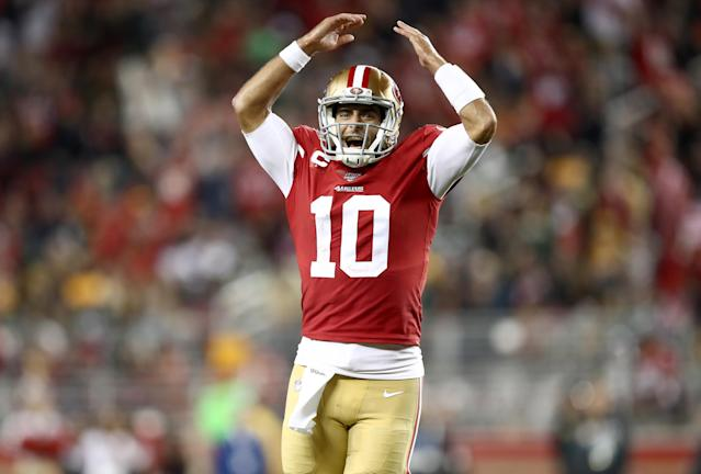 Jimmy Garoppolo and the 49ers passing game are rounding into form. (Photo by Ezra Shaw/Getty Images)