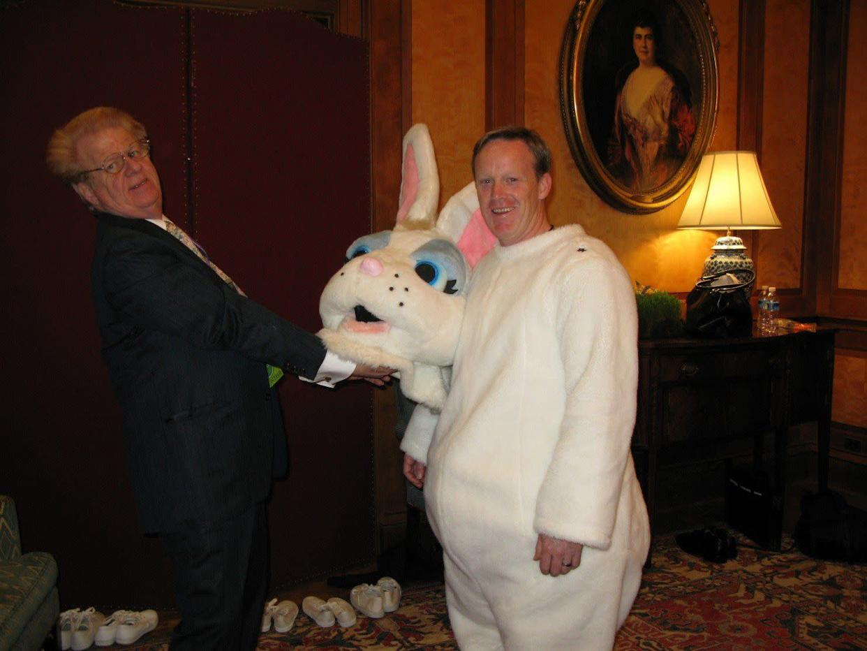 Future Trump press secretary Sean Spicer dressed up as the Easter Bunnyfor the White House Easter Egg Roll during the George W. Bush administration.