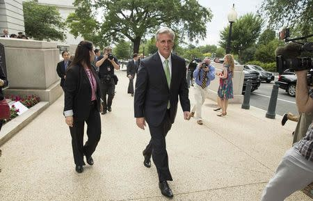 Newly elected House Majority Leader Kevin McCarthy (R-CA) walks to the Capitol after his election in Washington June 19, 2014. House of Representatives Republicans on Thursday chose McCarthy, an ally of Speaker John Boehner for the number 2 job in the chamber, a setback for some conservative lawmakers hoping to use a leadership election to boost their influence. REUTERS/Joshua Roberts (UNITED STATES - Tags: POLITICS ELECTIONS)