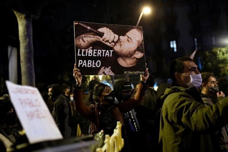 A protest in Barcelona against a decision to jail Catalan rapper Pablo Hasel over tweets attacking the monarchy