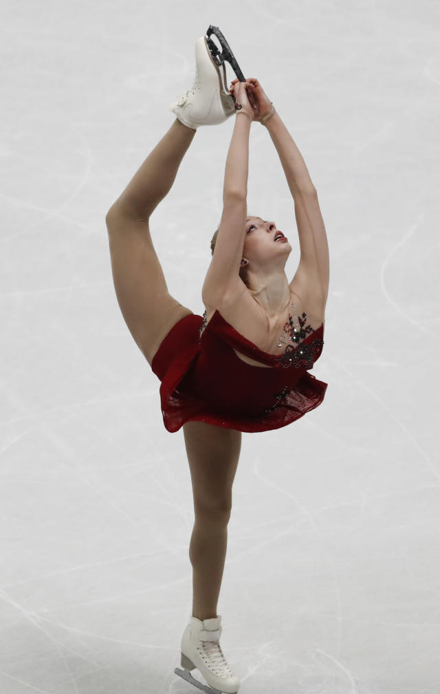 U.S. Bradie Tennell performs during women's short program at the Figure Skating World Championships in Assago, near Milan, Wednesday, March 21, 2018. (AP Photo/Antonio Calanni)