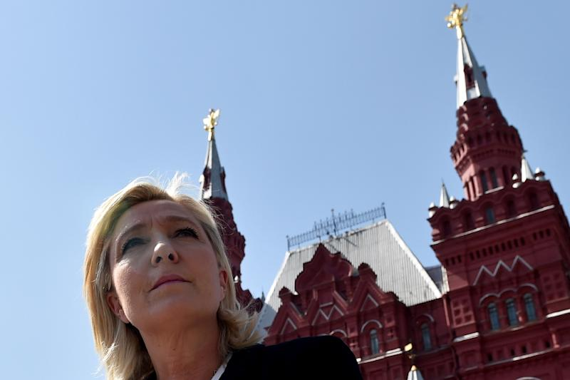 France's far-right Front National party president Marine Le Pen visits Moscow's Red Square before a meeting with Russia's State Duma speaker Sergei Naryshkin on May 26, 2015