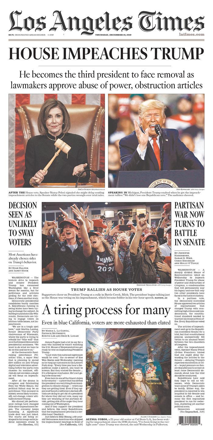 The front page of Thursday's Los Angeles Times. (Newseum.org)