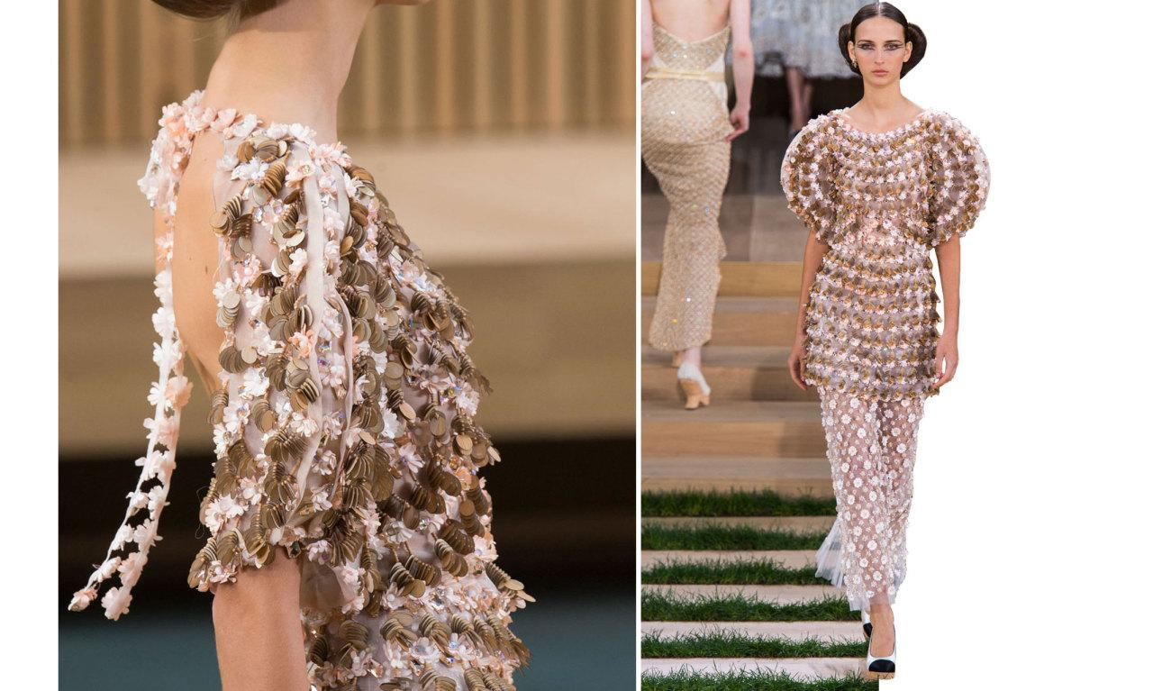 <p>Pailettes sequins helps create a dramatic sleeve from the front. And from the back, the floral appliqué ribbon floats graceful over a bare back.  <i>Photos: Imaxtree</i></p>
