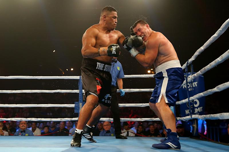 John Hopoate punches Paul Gallen during the Star of the Ring III Charity Fight Night at Hordern Pavilion on February 08, 2019 in Sydney, Australia. (Photo by Jason McCawley/Getty Images)