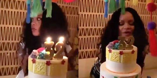 Tremendous Rihanna Celebrated Her 32Nd Birthday In Mexico With Tequila Cake Funny Birthday Cards Online Inifofree Goldxyz