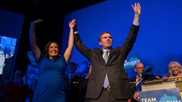 PHOTO: Democratic gubernatorial candidate and Kentucky Attorney General Andy Beshear, along with lieutenant governor candidate Jacqueline Coleman, acknowledge supporters, Tuesday, Nov. 5, 2019, in Louisville, Ky. (Bryan Woolston/AP)