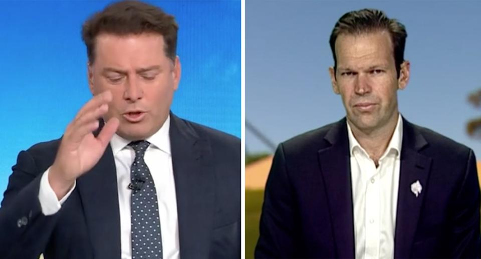 Karl Stefanovic and Matt Canavan during an interview on the Today Show.