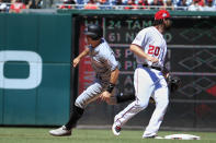 Miami Marlins J.T. Realmuto, left, reaches second on an infield single while Washington Nationals second baseman Daniel Murphy (20 waits for the ball during the fourth inning of a baseball game in Washington, Sunday, July 8, 2018. (AP Photo/Manuel Balce Ceneta)