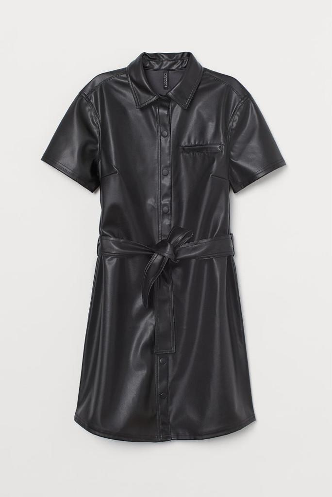 h&m dress, leather dress, leather trend