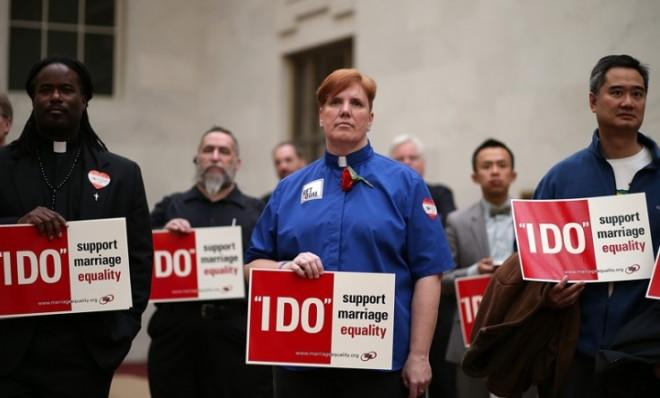 Same-sex marriage advocates at a sit-in protest in San Francisco on Feb. 14.