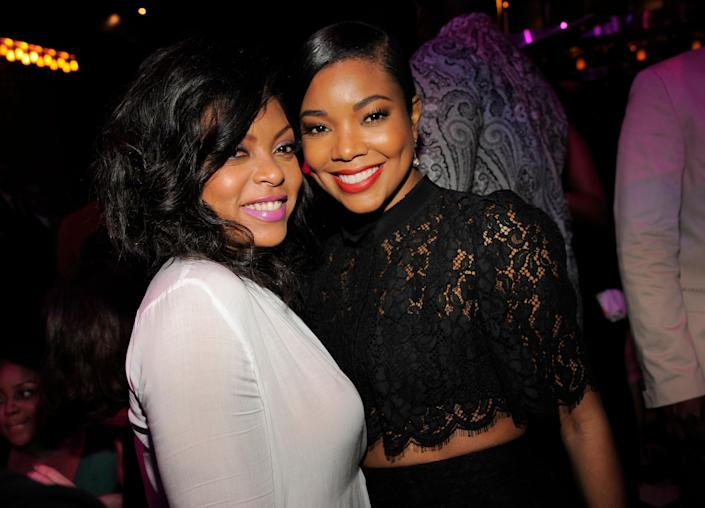 "Taraji P. Henson, left, and Gabrielle Union, cast members in ""Think Like A Man Too,"" pose together at the post-premiere party for the film on Monday, June 9, 2014 in West Hollywood, Calif. (Photo by Chris Pizzello/Invision/AP)"