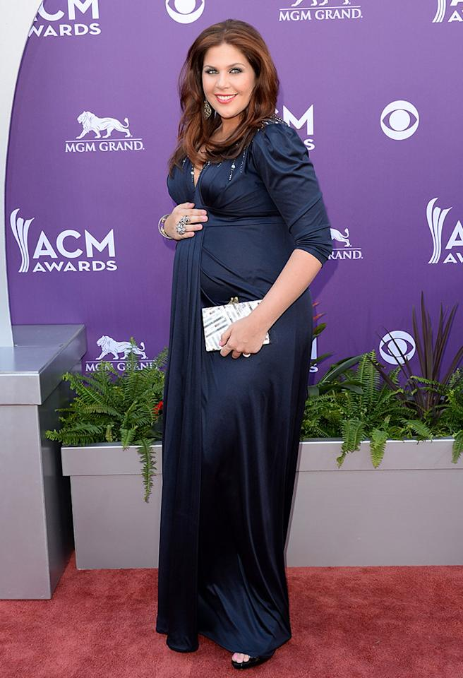 LAS VEGAS, NV - APRIL 07:  Musician Hillary Scott of music group Lady Antebellum arrives at the 48th Annual Academy of Country Music Awards at the MGM Grand Garden Arena on April 7, 2013 in Las Vegas, Nevada.  (Photo by Jason Merritt/Getty Images)