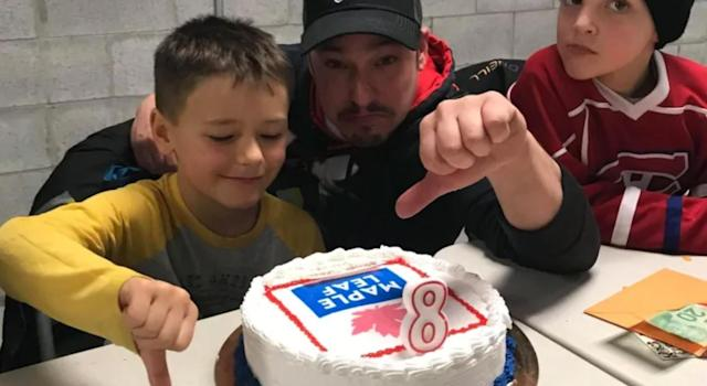 Jacob, 8, just wanted his favourite NHL team on his birthday cake. (Image via/CBC)