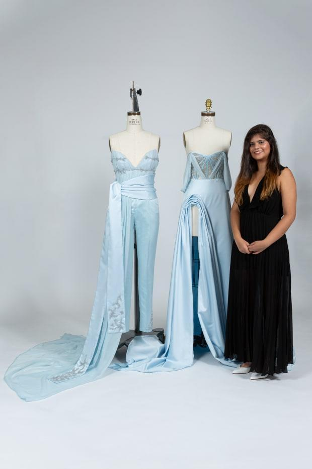 Ashna Moogi, a fashion design student at the Fashion Institute of Technology, with her winning garments designed for Elsa from 'Frozen.' Photo: Courtesy of FIT