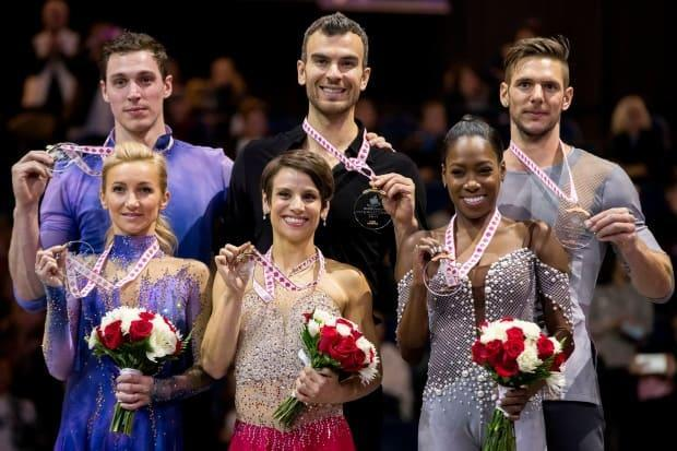 Eric Radford, top centre, is shown celebrating his 2017 world championships gold medal in pairs with former partner Meagan Duhamel, bottom centre. Radford announced on Wednesday that he will return to competition with a new partner, Vanessa James, who shown with her world championships bronze medal at bottom right.