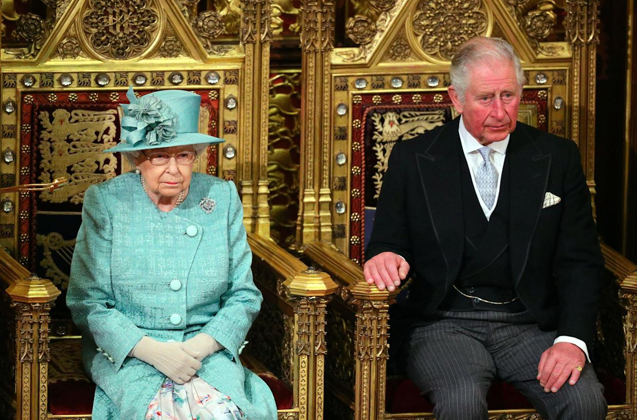 LONDON, ENGLAND - DECEMBER 19: LONDON, ENGLAND - DECEMBER 19: Queen Elizabeth II and Prince Charles, Prince of Wales are seated for the state opening of parliament at the Houses of Parliament on December 19, 2019 in London, England. In the second Queen's speech in two months, Queen Elizabeth II will unveil the majority Conservative government's legislative programme to Members of Parliament and Peers in The House of Lords. In the second Queen's speech in two months, Queen Elizabeth II will unveil the majority Conservative government's legislative programme to Members of Parliament and Peers in The House of Lords.  (Photo by Aaron Chown - WPA Pool/Getty Images)