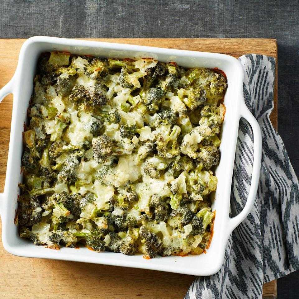 "<p>This simple cheesy casserole is comforting while keeping the carbs in check. Serve it alongside roasted chicken or pork. <a href=""http://www.eatingwell.com/recipe/277962/low-carb-broccoli-cheddar-casserole/"" rel=""nofollow noopener"" target=""_blank"" data-ylk=""slk:View recipe"" class=""link rapid-noclick-resp""> View recipe </a></p>"