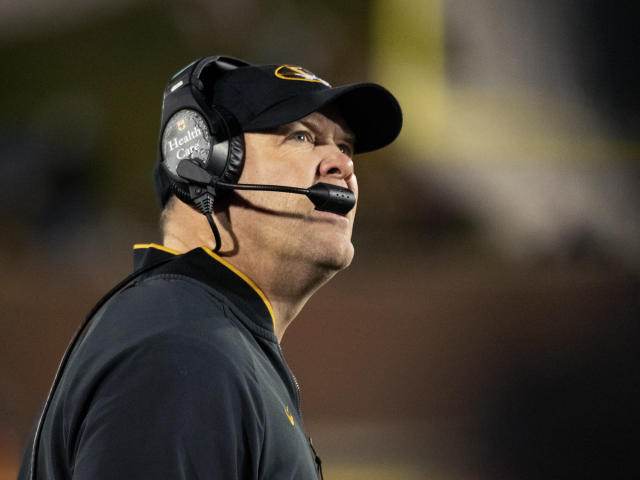 Missouri head coach Barry Odom looks at the scoreboard during the second quarter of an NCAA college football game against Tennessee, Saturday, Nov. 23, 2019, in Columbia, Mo. Tennessee won the game 24-20. (AP Photo/L.G. Patterson)