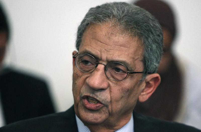 LEADING CANDIDATE CRASHES: Amr Moussa, a former foreign minister and ex-head of the Arab League, had led opinion polls for months. However, he failed to garner enough votes to make the June 16-17 runoff. In this Sunday, April 22, 2012 photo, Moussa speaks during a press conference in Cairo. (AP Photo/Nasser Nasser)