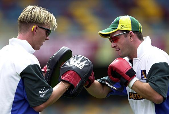 20 Nov 2000:  Brett Lee and Mark Waugh of the Australian Cricket Team in action at training for the First Test against the West Indies which starts on Thursday at the Gabba in Brisbane, Australia. DIGITAL IMAGE. Mandatory Credit: Darren England/ALLSPORT